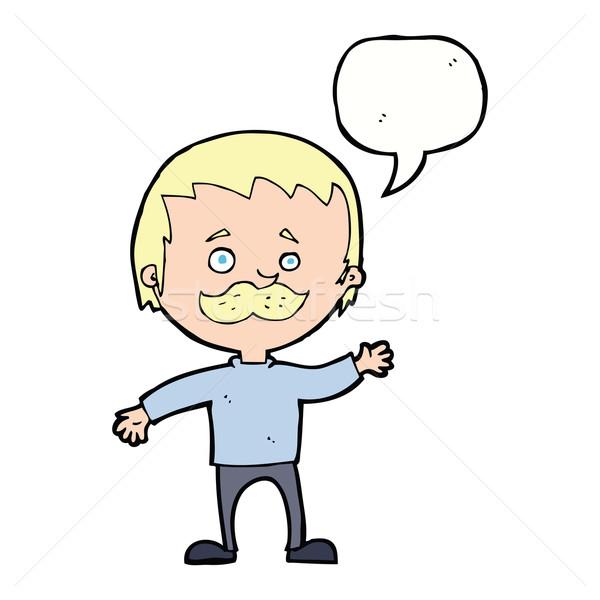 Cartoon человека усы речи пузырь стороны Сток-фото © lineartestpilot