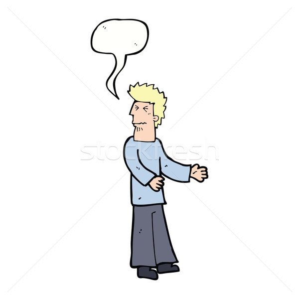 cartoon disgusted man with speech bubble Stock photo © lineartestpilot
