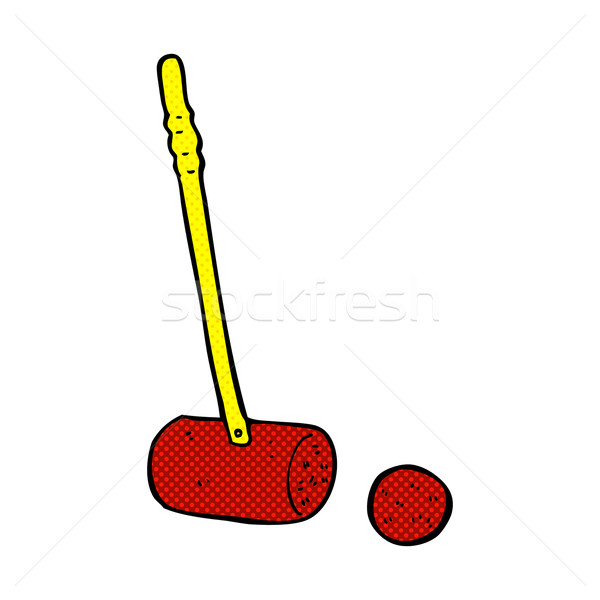 comic cartoon croquet mallet and ball Stock photo © lineartestpilot
