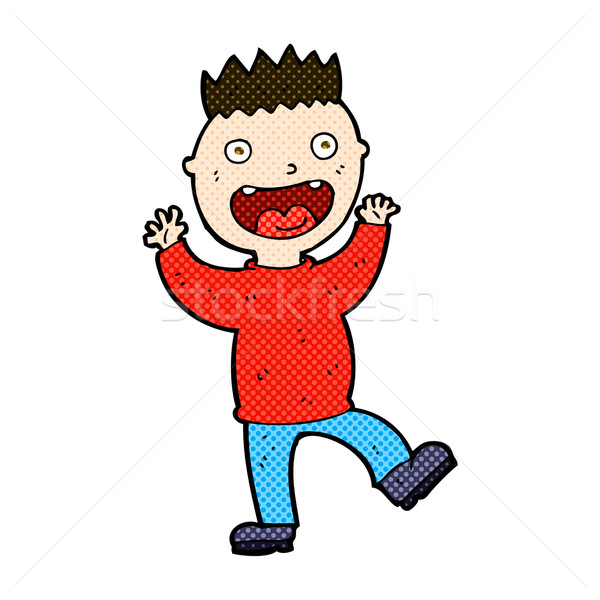 комического Cartoon Crazy счастливым человека ретро Сток-фото © lineartestpilot