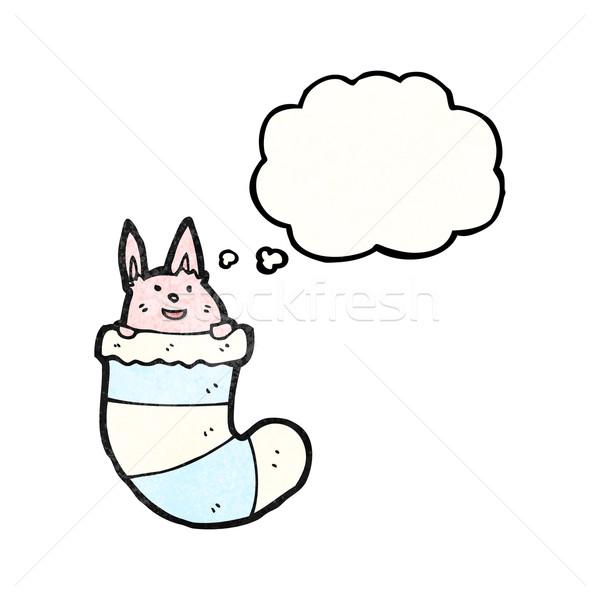 cute rabbit in sock (raster version) Stock photo © lineartestpilot