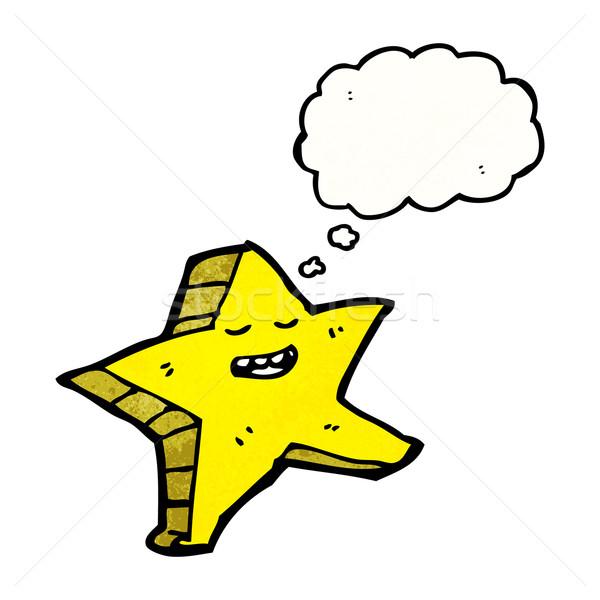 Sterne Zeichentrickfigur Gedankenblase Textur Hand glücklich Stock foto © lineartestpilot