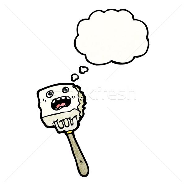 Tofu villa rajzfilmfigura beszél retro gondolkodik Stock fotó © lineartestpilot