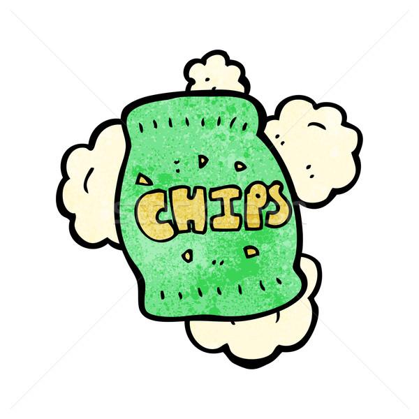 Foto stock: Desenho · animado · batatas · fritas · falante · retro · gordura · desenho