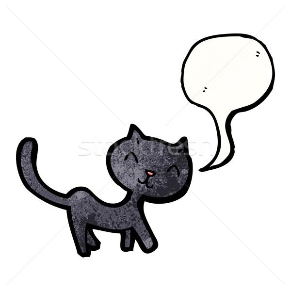 漫画 黒猫 話し 黒 レトロな 図面 ストックフォト © lineartestpilot