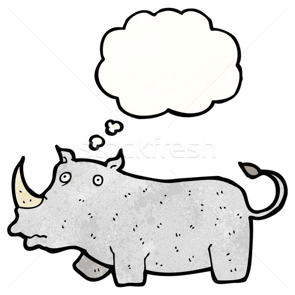 Cartoon носорог ретро мышления рисунок Идея Сток-фото © lineartestpilot