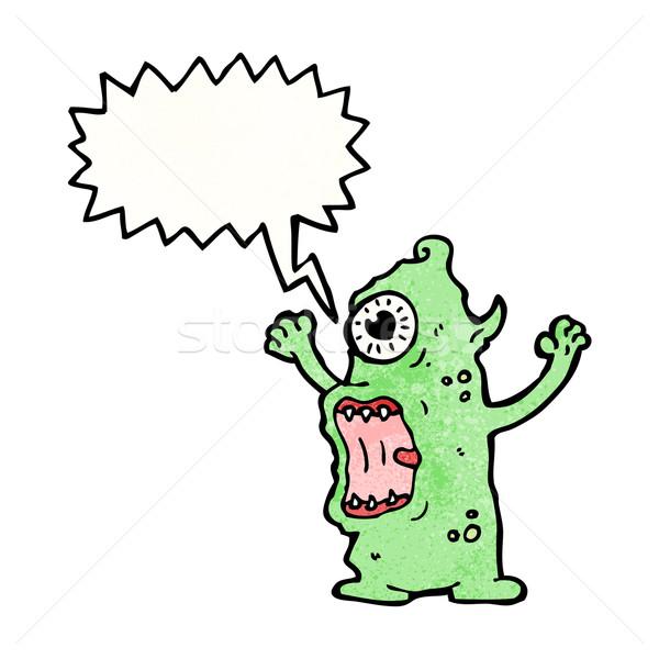 Desenho animado alienígena monstro espaço retro desenho Foto stock © lineartestpilot