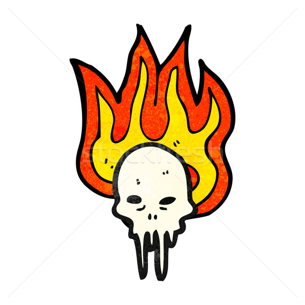 gross flaming skull cartoon Stock photo © lineartestpilot
