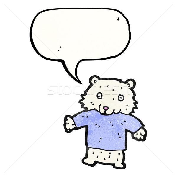 мало полярный медведь Cartoon искусства ретро рисунок Сток-фото © lineartestpilot