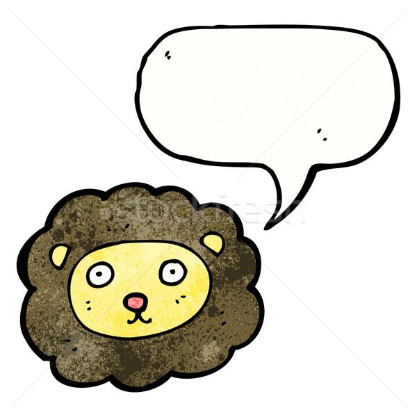 Cartoon lew twarz retro rysunek cute Zdjęcia stock © lineartestpilot