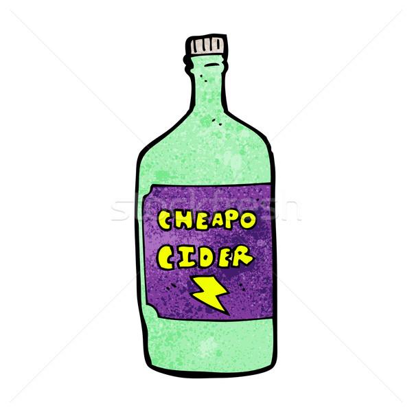 Karikatür elma şarabı içmek Retro çizim sevimli Stok fotoğraf © lineartestpilot