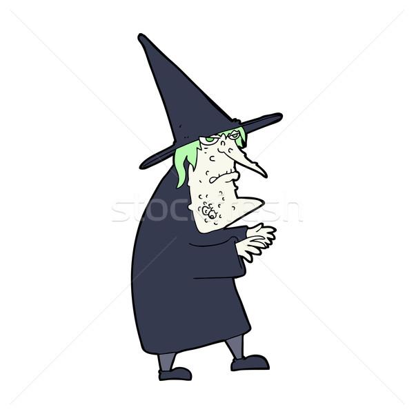 Cartoon lelijk oude heks ontwerp kunst Stockfoto © lineartestpilot