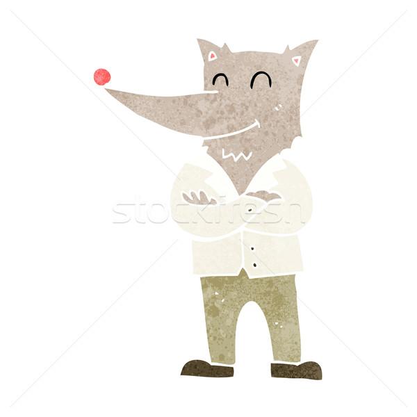 Cartoon loup shirt main heureux design Photo stock © lineartestpilot