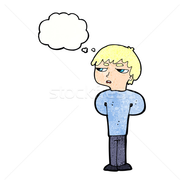 cartoon antisocial boy with thought bubble Stock photo © lineartestpilot