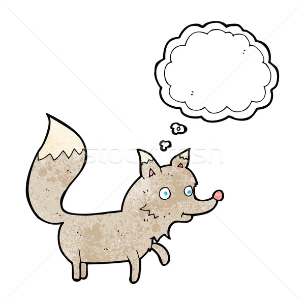 cartoon wolf cub with thought bubble Stock photo © lineartestpilot