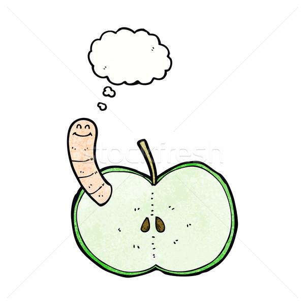 Cartoon mela worm bolla di pensiero mano design Foto d'archivio © lineartestpilot