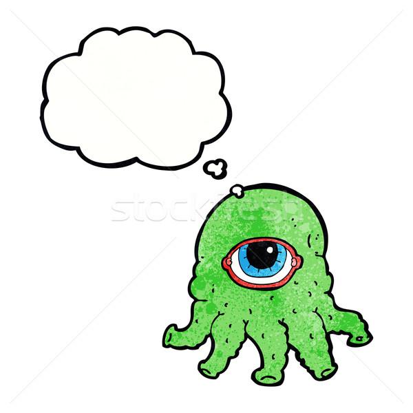 Desenho animado alienígena cabeça balão de pensamento mão cara Foto stock © lineartestpilot