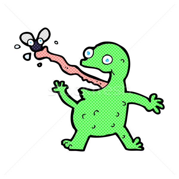 comic cartoon frog catching fly Stock photo © lineartestpilot