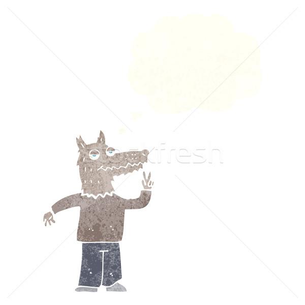 Cartoon счастливым волка человека мысли пузырь стороны Сток-фото © lineartestpilot