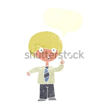 Cartoon schooljongen gedachte bel hand man ontwerp Stockfoto © lineartestpilot