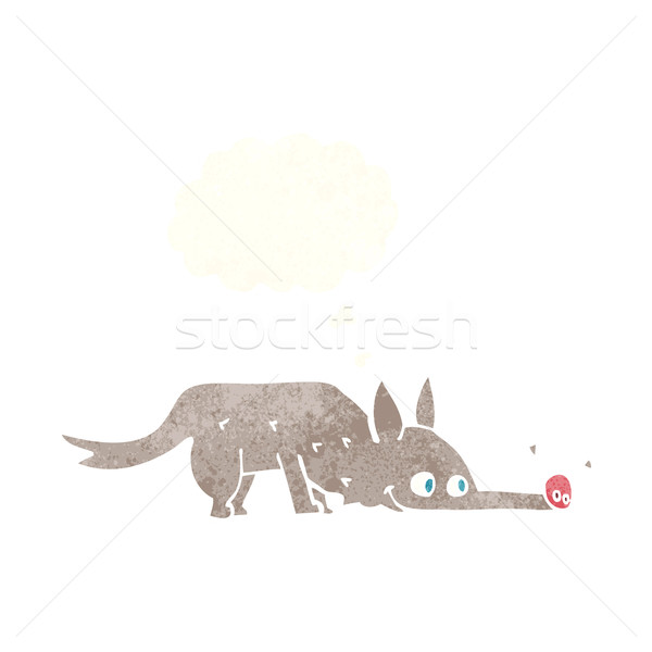Stock photo: cartoon dog sniffing floor with thought bubble