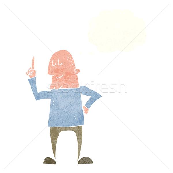 Karikatür adam işaret parmak düşünce balonu el Stok fotoğraf © lineartestpilot
