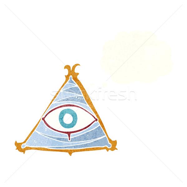 Cartoon мистик глаза символ мысли пузырь стороны Сток-фото © lineartestpilot
