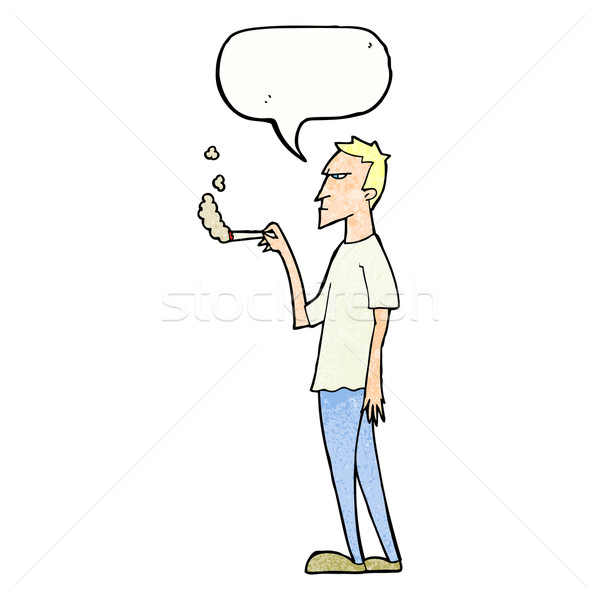 cartoon annoyed smoker with speech bubble Stock photo © lineartestpilot