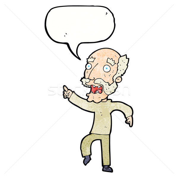 cartoon frightened old man with speech bubble Stock photo © lineartestpilot