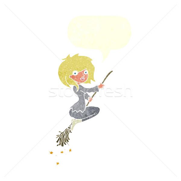 Cartoon strega equitazione manico di scopa fumetto mano Foto d'archivio © lineartestpilot