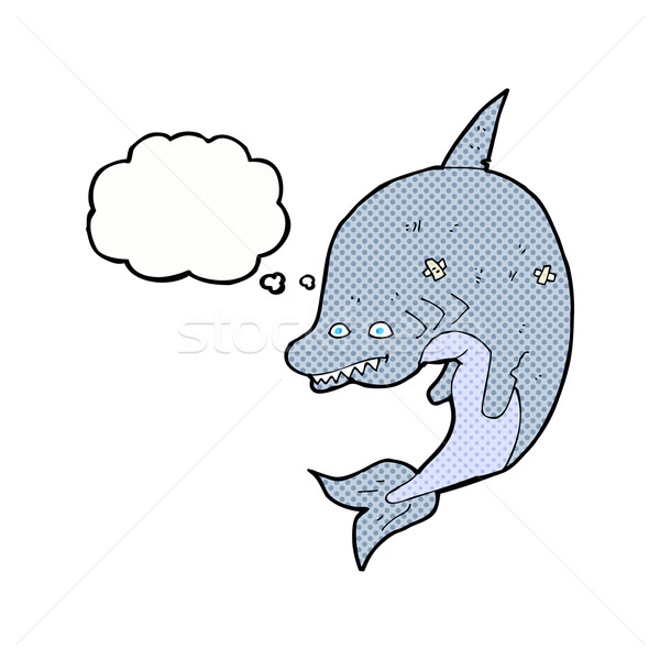 cartoon shark with thought bubble Stock photo © lineartestpilot