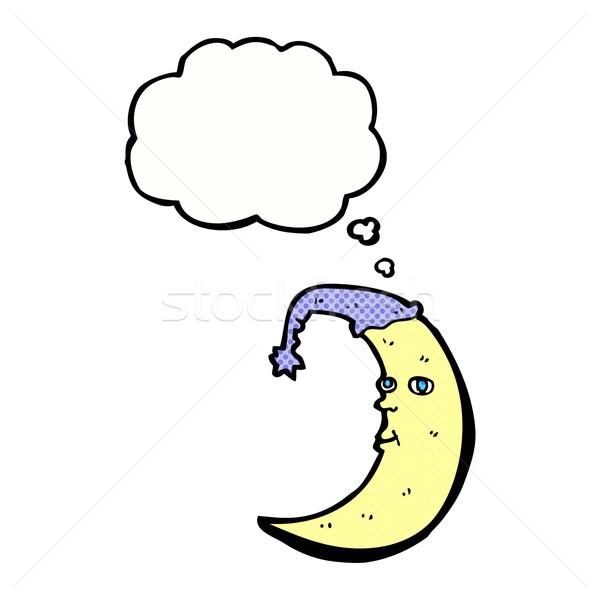 сонный луна Cartoon мысли пузырь стороны дизайна Сток-фото © lineartestpilot