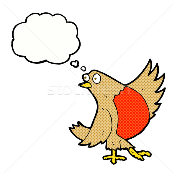 cartoon dancing robin with thought bubble Stock photo © lineartestpilot