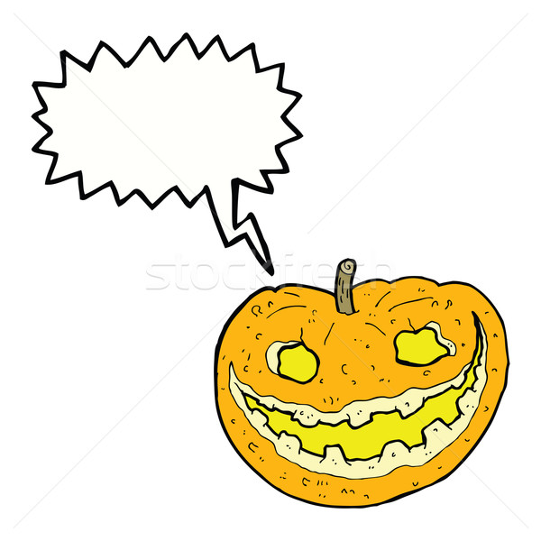 cartoon spooky pumpkin with speech bubble Stock photo © lineartestpilot