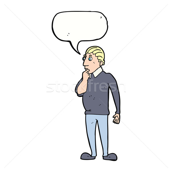 catoon curious man with speech bubble Stock photo © lineartestpilot