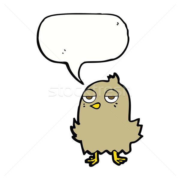 Cartoon скучно птица речи пузырь стороны дизайна Сток-фото © lineartestpilot