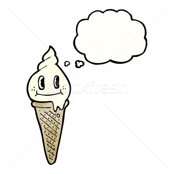 Cartoon cono gelato carattere parlando retro pensare Foto d'archivio © lineartestpilot