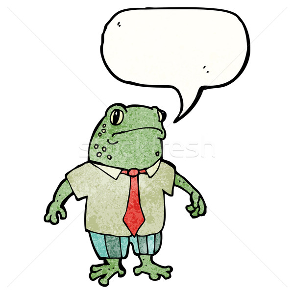cartoon toad with speech bubble and suit Stock photo © lineartestpilot
