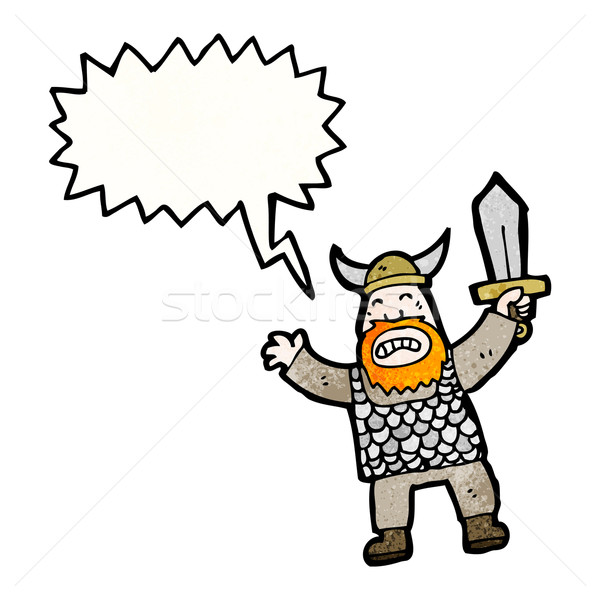 Kiált viking rajz beszél retro rajz Stock fotó © lineartestpilot