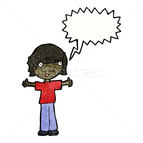 Cartoon jongen positieve houding retro textuur geïsoleerd Stockfoto © lineartestpilot