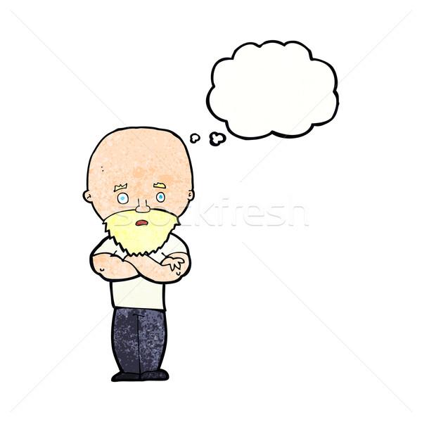 Karikatür kel adam sakal düşünce balonu Stok fotoğraf © lineartestpilot