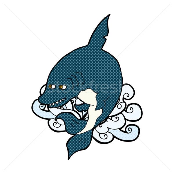 Amuzant comic desen animat rechin retro Imagine de stoc © lineartestpilot