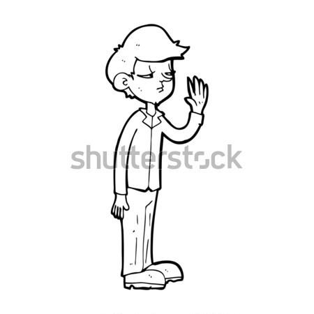Képregény rajz arrogáns fiú retro képregény Stock fotó © lineartestpilot