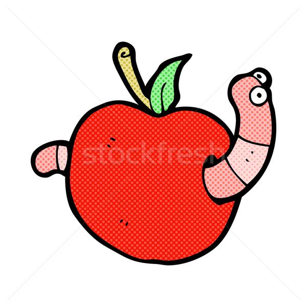 Fumetto cartoon worm mela retro Foto d'archivio © lineartestpilot