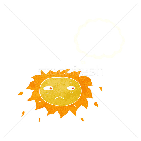 cartoon sad sun with thought bubble Stock photo © lineartestpilot