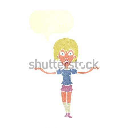 cartoon woman with arms spread wide with thought bubble Stock photo © lineartestpilot