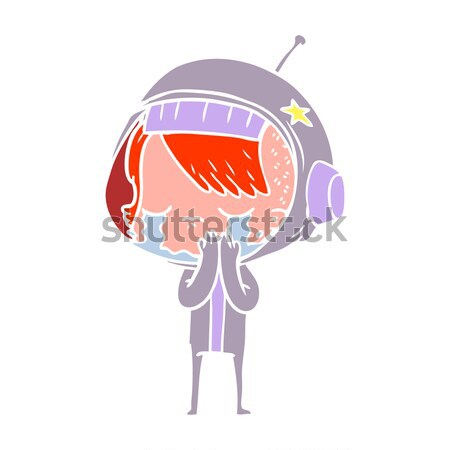 Cartoon intelligente femme bulle de pensée main design Photo stock © lineartestpilot