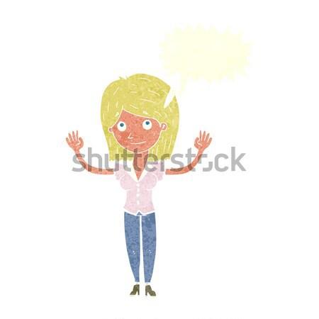 Cartoon mujer las manos en alto burbuja de pensamiento mano diseno Foto stock © lineartestpilot