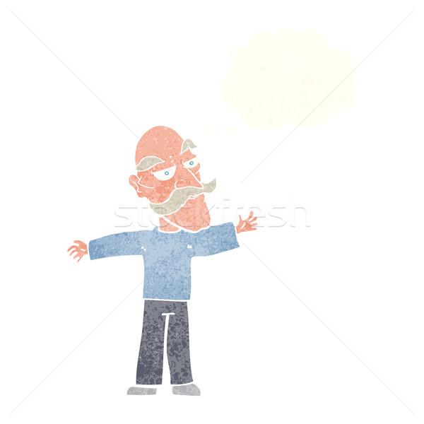 Cartoon старик оружия широкий мысли пузырь стороны Сток-фото © lineartestpilot
