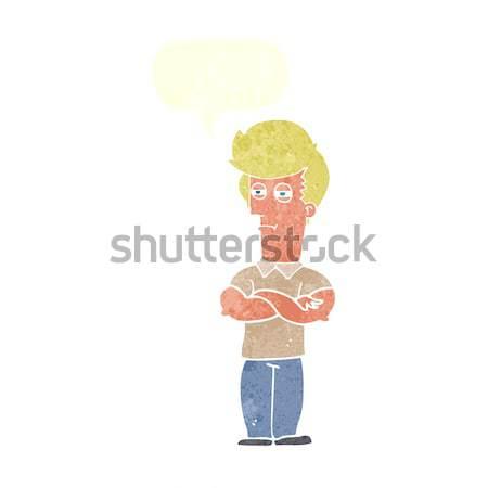 Rajz ideges férfi gondolatbuborék kéz őrült Stock fotó © lineartestpilot